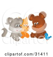 Clipart Illustration Of A Bluebird Chatting With A Cute Bear Kitten And Puppy