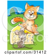 Poster, Art Print Of Cat Standing On The Other Side Of A Cheese Wedge Staring At A Frightened Mouse Near A Mouse Hole