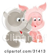 Clipart Illustration Of A Cute Baby Rhino And Piglet Side By Side