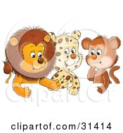 Clipart Illustration Of A Group Of Friends A Cute Baby Lion Leopard And Monkey Chatting #31414 by Alex Bannykh