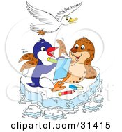 Clipart Illustration Of A Seagull Flying Over A Seal And Penguin Coloring In A Book On A Floating Sheet Of Ice
