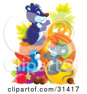 Clipart Illustration Of A Cute Mouse Gopher And Bird With An Abundant Amount Of Veggies by Alex Bannykh