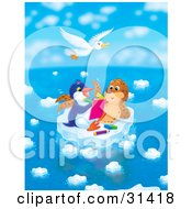 Clipart Illustration Of A White Gull Flying Above A Seal Chatting With A Penguin Who Is Drawing In A Book On A Floating Ice Sheet On A Beautiful Day