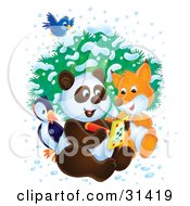 Clipart Illustration Of A Bluebird Flying Over A Bird Fox And Panda As They Write In An Activity Book On A Wintry Day