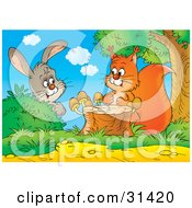 Clipart Illustration Of A Curious Bunny Rabbit Behind A Bush Watching A Squirrel By A Tree Stump With Mushrooms