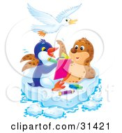 Clipart Illustration Of A Seal Posing For A Penguin Artist On A Sheet Of Ice A Bird Flying Above by Alex Bannykh