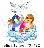 Clipart Illustration Of A White Bird Flying Over A Seal And Penguin Coloring In A Book On A Floating Sheet Of Ice by Alex Bannykh