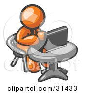 Clipart Illustration Of An Orange Man Working On A Laptop Computer On A Table by Leo Blanchette #COLLC31433-0020
