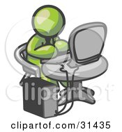 Clipart Illustration Of An Olive Green Man Working On A Desktop Computer On A Table by Leo Blanchette