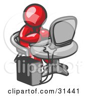 Clipart Illustration Of A Red Man Working On A Desktop Computer On A Table