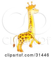 Clipart Illustration Of An Adorable Spotted Baby Giraffe Running by Alex Bannykh