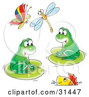 Two Cute Green Frogs On Lily Pads With A Fish Swimming In The Water And A Butterfly And Dragonfly Flying Above