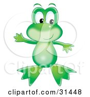Cute Green Frog Standing On Its Hind Legs Holding Its Arms Out And Looking To The Right