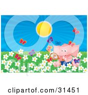 Clipart Illustration Of A Pink Elephant Sitting In A Field Of White Spring Daisy Flowers Watching Butterflies With A Magnifying Glass On A Sunny Day