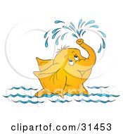 Clipart Illustration Of A Cute Elephant Swimming And Showering Itself With A Spray Of Water From Its Trunk On A White Background by Alex Bannykh