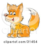 Clipart Illustration Of A Friendly Young Fox Kit Sitting And Glancing At The Viewer