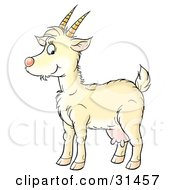 Clipart Illustration Of A Yellow Goat With Udders And Horns In Profile Facing Left