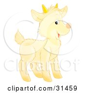 Clipart Illustration Of An Adorable Yellow Baby Goat With Small Horns