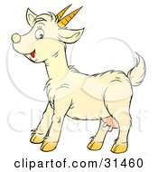 Clipart Illustration Of A Friendly Little Goat With Udders And Sharp Pointy Horns