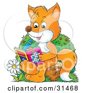 Clipart Illustration Of A Smart Fox Sitting On A Tree Stump By A Flower Doing Puzzles In An Activity Book