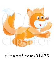 Clipart Illustration Of A Cute And Playful White And Orange Fox Kit Holding His Front Paws Up by Alex Bannykh