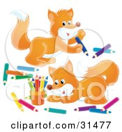 Two Adorable Foxes Playing With Colored Pencils