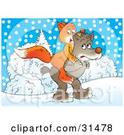 Clipart Illustration Of A Wolf Carrying His Friend A Fox On His Back Through The Snow by Alex Bannykh
