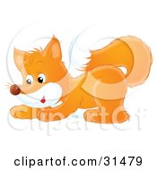 Clipart Illustration Of A Cute Playful Fox Crouching by Alex Bannykh