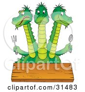 Hungry Green Three Headed Dragon At A Table Holding A Fork And Spoon