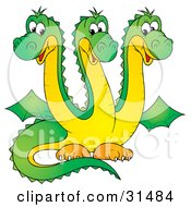 Clipart Illustration Of A Cute Green Three Headed Dragon With Yellow Bellies And Necks by Alex Bannykh