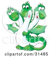 Clipart Illustration Of A Friendly Green Three Headed Dragon With A White Belly And Wings by Alex Bannykh