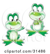 Clipart Illustration Of Two Cute Chatty Green Frogs Talking
