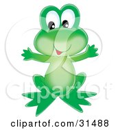 Cute And Friendly Green Frog Holding Its Arms Out