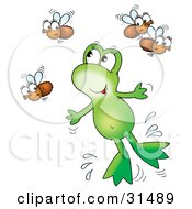 Clipart Illustration Of A Cute Green Frog Leaping Through The Air To Catch Flies by Alex Bannykh