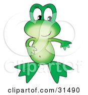 Clipart Illustration Of A Cute Green Frog With One Hand On Her Belly Holding The Other Arm Out by Alex Bannykh