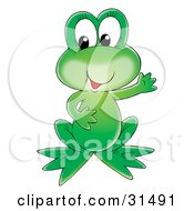 Adorable Green Frog Holding One Arm Out