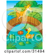 Clipart Illustration Of A Cute Goat Crossing Over A Duck On A Pond On A Wooden Foot Bridge by Alex Bannykh