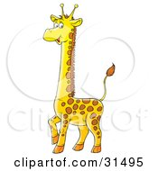 Clipart Illustration Of An Adorable Spotted Baby Giraffe Standing With One Leg Lifted by Alex Bannykh