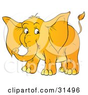 Clipart Illustration Of An Adorable Baby Elephant With Big Ears On A White Background