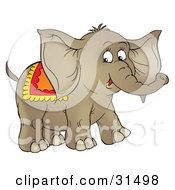 Clipart Illustration Of A Cute Brown Circus Elephant With A Blanket On Its Back On A White Background