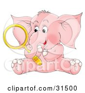 Clipart Illustration Of A Cute Pink Elephant Holding A Magnifying Glass In Its Trunk On A White Background