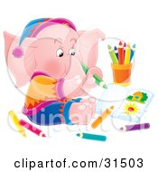 Artistic Pink Elephant Sitting On The Floor And Drawing Pictures With Colored Pencils On A White Background
