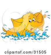 Clipart Illustration Of A Playful Elephant Swimming And Splashing In Water On A White Background by Alex Bannykh