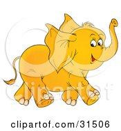 Clipart Illustration Of A Happy Baby Elephant With Big Ears Running And Holding Its Trunk Up On A White Background by Alex Bannykh