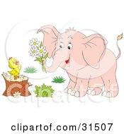Clipart Illustration Of A Pink Elephant Holding Daisies In Its Trunk Giving Them To A Baby Chick Standing On A Tree Stump On A White Background by Alex Bannykh