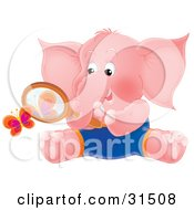 Clipart Illustration Of A Pink Elephant Sitting On The Ground And Watching A Butterfly Through A Magnifying Glass On A White Background by Alex Bannykh