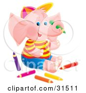 Cute Pink Elephant Sitting On The Floor Surrounded By Colored Pencils On A White Background