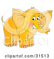 Clipart Illustration Of A Cute Yellow Elephant With Blushed Cheeks And Tusks On A White Background by Alex Bannykh