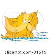 Clipart Illustration Of A Cute Elephant Swimming And Sucking Water Up Through Its Trunk On A White Background by Alex Bannykh