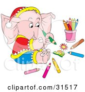 Pink Elephant Dresed In Clothes And A Hat Sitting On The Floor And Drawing A Picture With Colored Pencils On A White Background